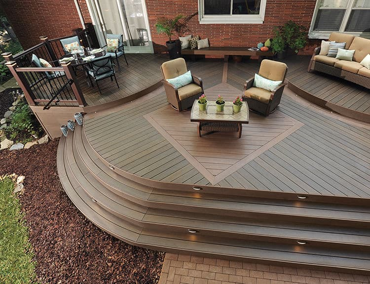 deck design ideas diagonal inlay pattern
